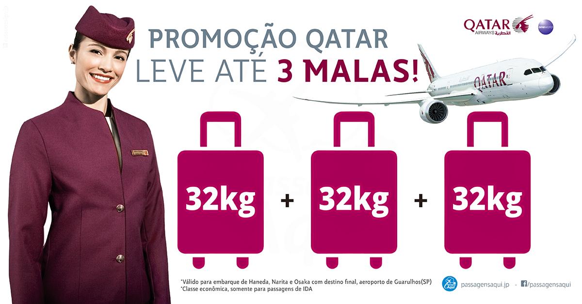 promoção qatar 3 malas